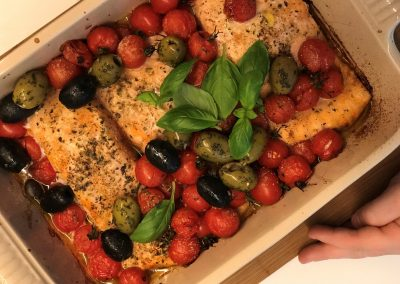Vis stoofpot met olijven en tomaatjes van Charlotte