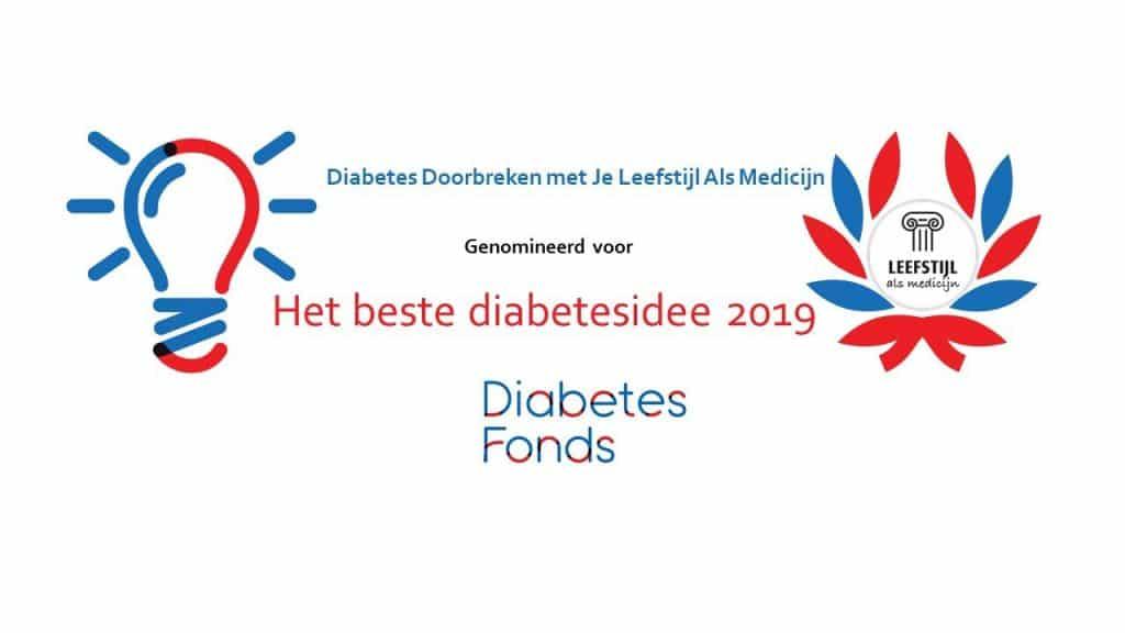 Stichting Je Leefstijl Als Medicijn genomineerd voor het beste diabetesidee 2019
