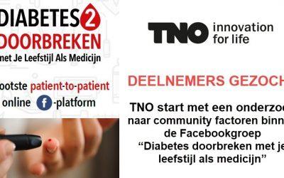TNO doet onderzoek binnen de Facebookgroep Diabetes 2 Doorbreken