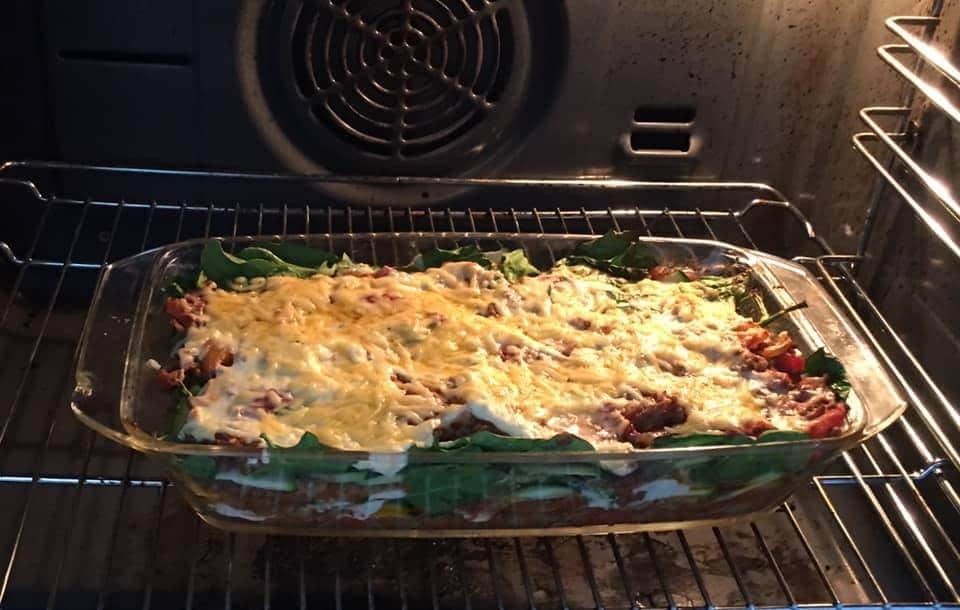 Keto lasagne met gehakt en spinazie