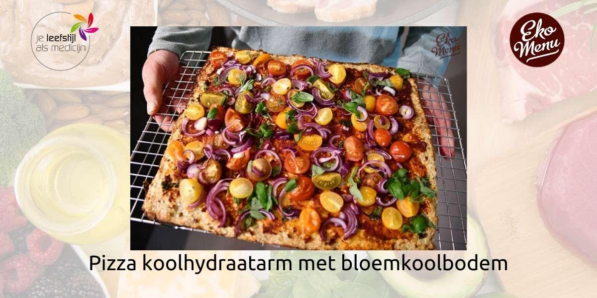 Pizza koolhydraatarm met bloemkoolbodem